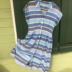 Boden Dress - Linen with Blue Stripes and Buttons